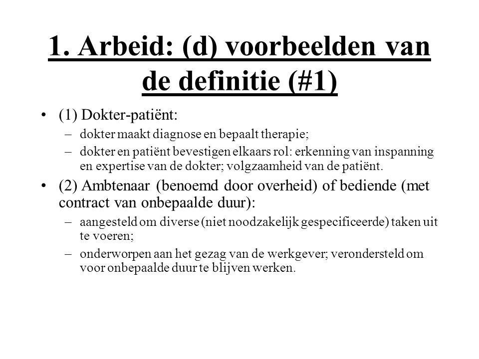 1. Arbeid: (d) voorbeelden van de definitie (#1) (1) Dokter-patiënt: –dokter maakt diagnose en bepaalt therapie; –dokter en patiënt bevestigen elkaars