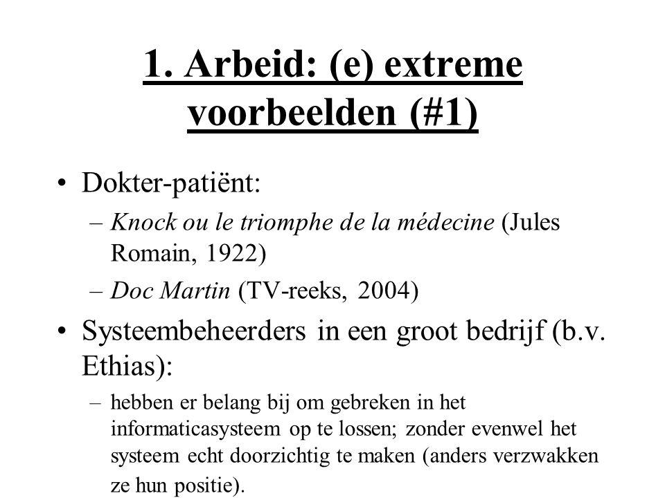 1. Arbeid: (e) extreme voorbeelden (#1) Dokter-patiënt: –Knock ou le triomphe de la médecine (Jules Romain, 1922) –Doc Martin (TV-reeks, 2004) Systeem