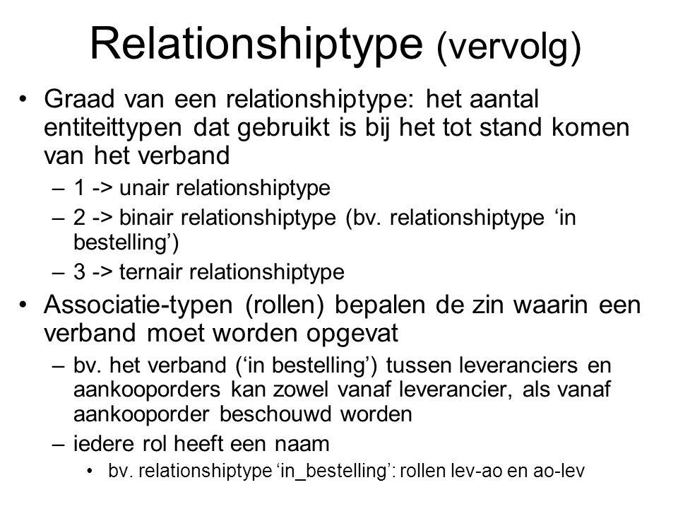 Relationshiptype (vervolg) Graad van een relationshiptype: het aantal entiteittypen dat gebruikt is bij het tot stand komen van het verband –1 -> unai