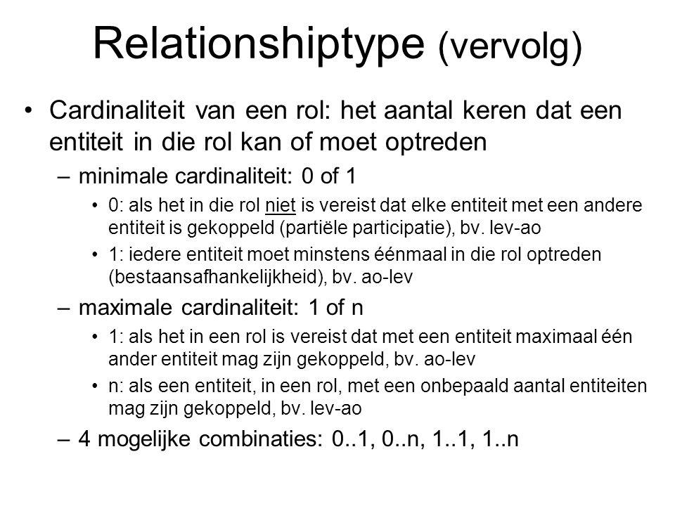Cardinaliteit van een rol: het aantal keren dat een entiteit in die rol kan of moet optreden –minimale cardinaliteit: 0 of 1 0: als het in die rol nie