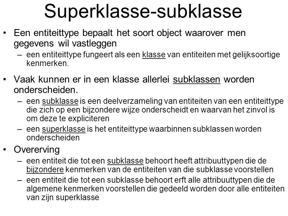 Superklasse-subklasse Een entiteittype bepaalt het soort object waarover men gegevens wil vastleggen –een entiteittype fungeert als een klasse van ent