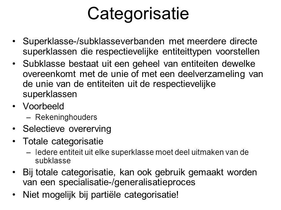 Categorisatie Superklasse-/subklasseverbanden met meerdere directe superklassen die respectievelijke entiteittypen voorstellen Subklasse bestaat uit e