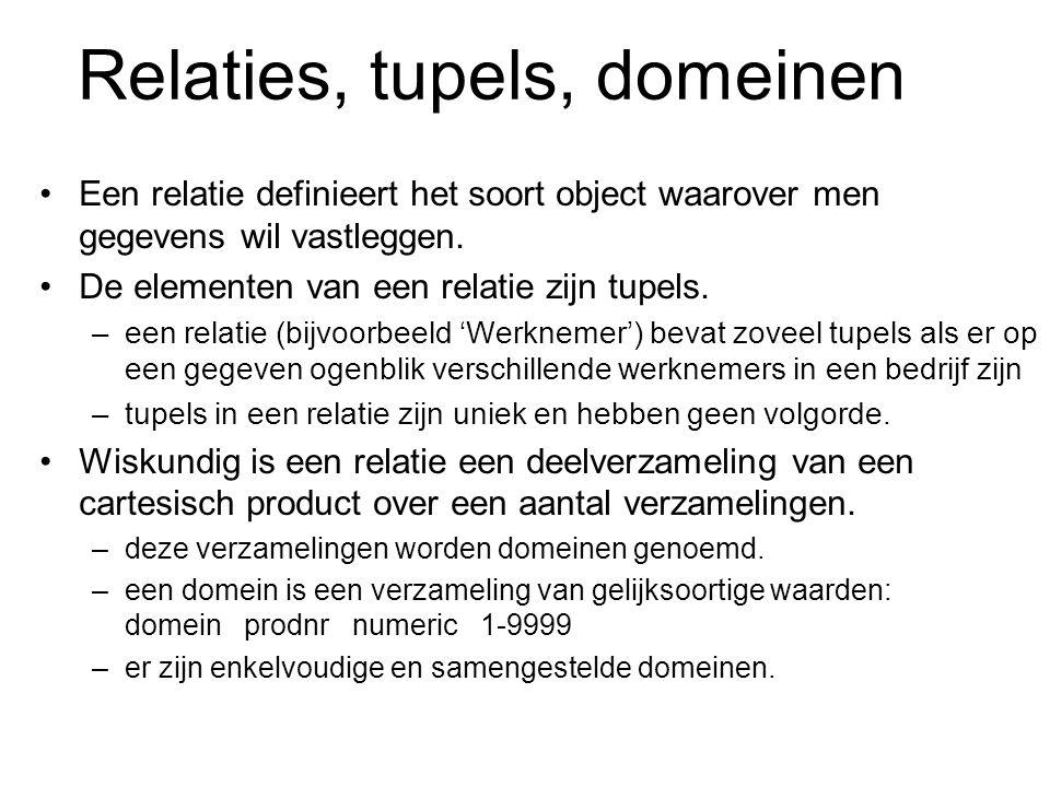 Relaties, tupels, domeinen Een relatie definieert het soort object waarover men gegevens wil vastleggen. De elementen van een relatie zijn tupels. –ee