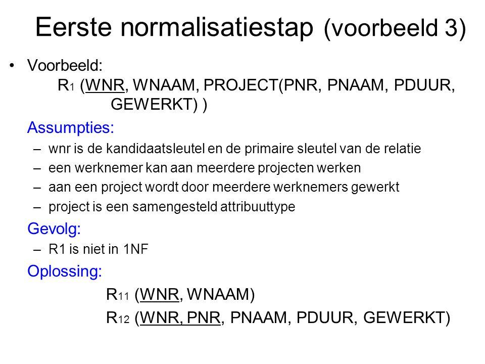 Voorbeeld: R 1 (WNR, WNAAM, PROJECT(PNR, PNAAM, PDUUR, GEWERKT) ) Assumpties: –wnr is de kandidaatsleutel en de primaire sleutel van de relatie –een w