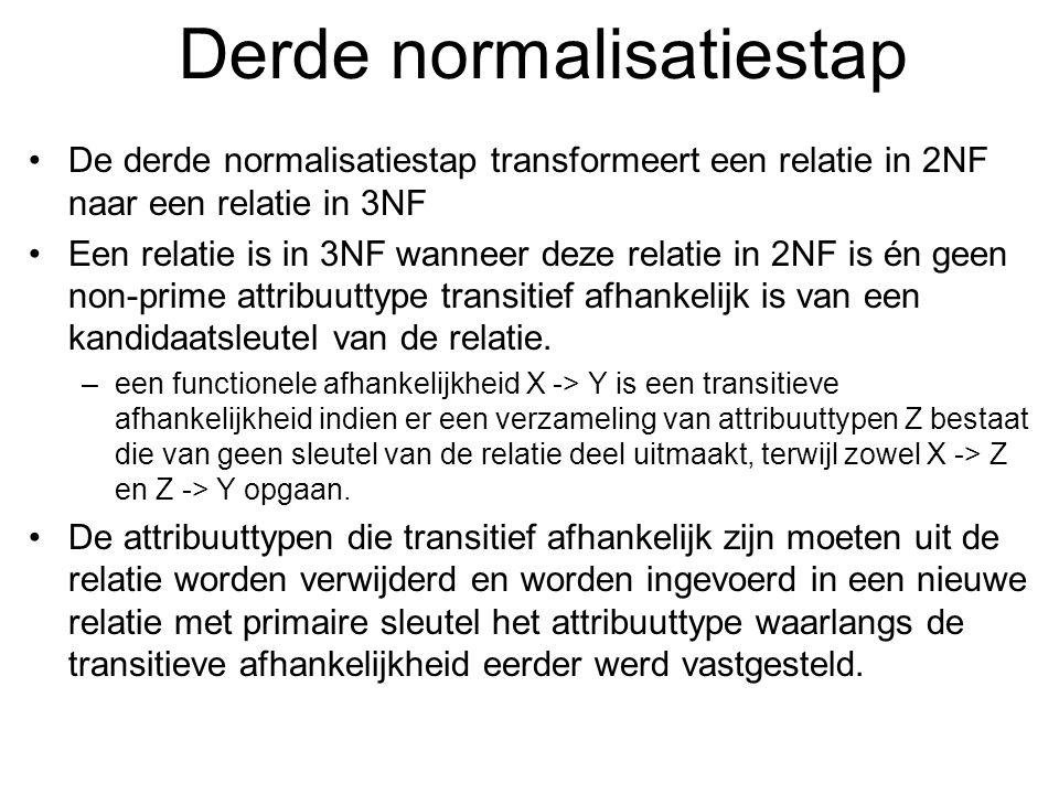 Derde normalisatiestap De derde normalisatiestap transformeert een relatie in 2NF naar een relatie in 3NF Een relatie is in 3NF wanneer deze relatie i