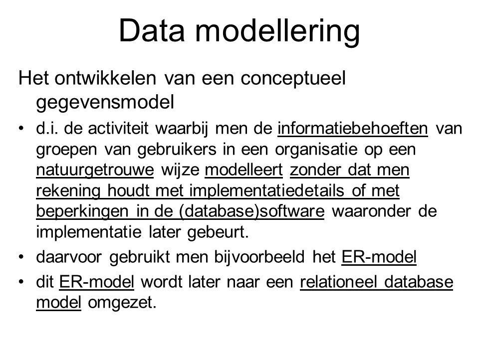 Data modellering Het ontwikkelen van een conceptueel gegevensmodel d.i. de activiteit waarbij men de informatiebehoeften van groepen van gebruikers in