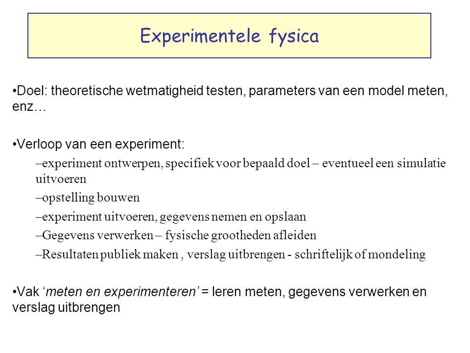 Experimentele fysica Doel: theoretische wetmatigheid testen, parameters van een model meten, enz… Verloop van een experiment: –experiment ontwerpen, s
