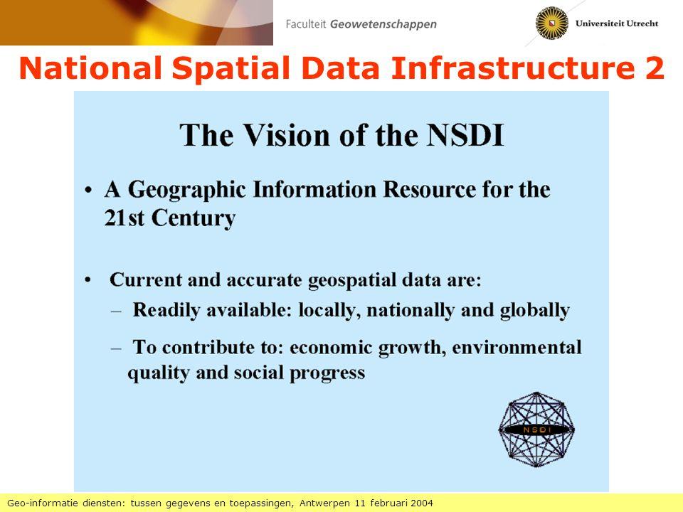 National Spatial Data Infrastructure 2 Geo-informatie diensten: tussen gegevens en toepassingen, Antwerpen 11 februari 2004