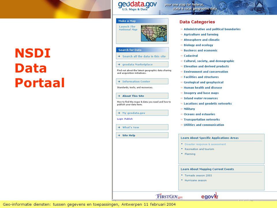 NSDI Data Portaal Geo-informatie diensten: tussen gegevens en toepassingen, Antwerpen 11 februari 2004