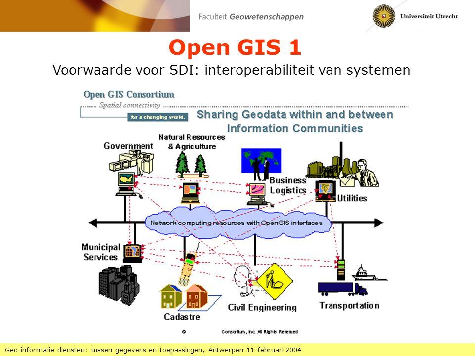 Open GIS 1 Geo-informatie diensten: tussen gegevens en toepassingen, Antwerpen 11 februari 2004 Voorwaarde voor SDI: interoperabiliteit van systemen