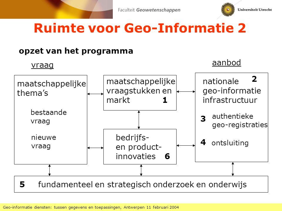 Ruimte voor Geo-Informatie 2 Geo-informatie diensten: tussen gegevens en toepassingen, Antwerpen 11 februari 2004 opzet van het programma vraag aanbod maatschappelijke thema's bestaande vraag nieuwe vraag nationale geo-informatie infrastructuur authentieke geo-registraties ontsluiting maatschappelijke vraagstukken en markt bedrijfs- en product- innovaties fundamenteel en strategisch onderzoek en onderwijs 1 6 3 4 5 2