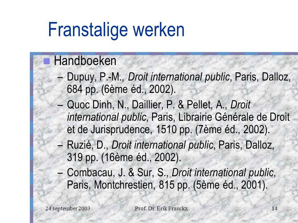 24 september 2003Prof. Dr. Erik Franckx13 Engelstalige werken Casebooks –Janis, M.