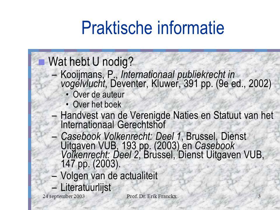 24 september 2003Prof.Dr. Erik Franckx3 Praktische informatie Wat hebt U nodig.