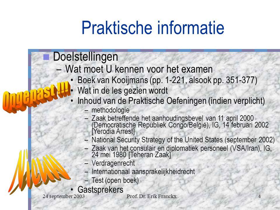 24 september 2003Prof. Dr. Erik Franckx3 Praktische informatie Wat hebt U nodig.