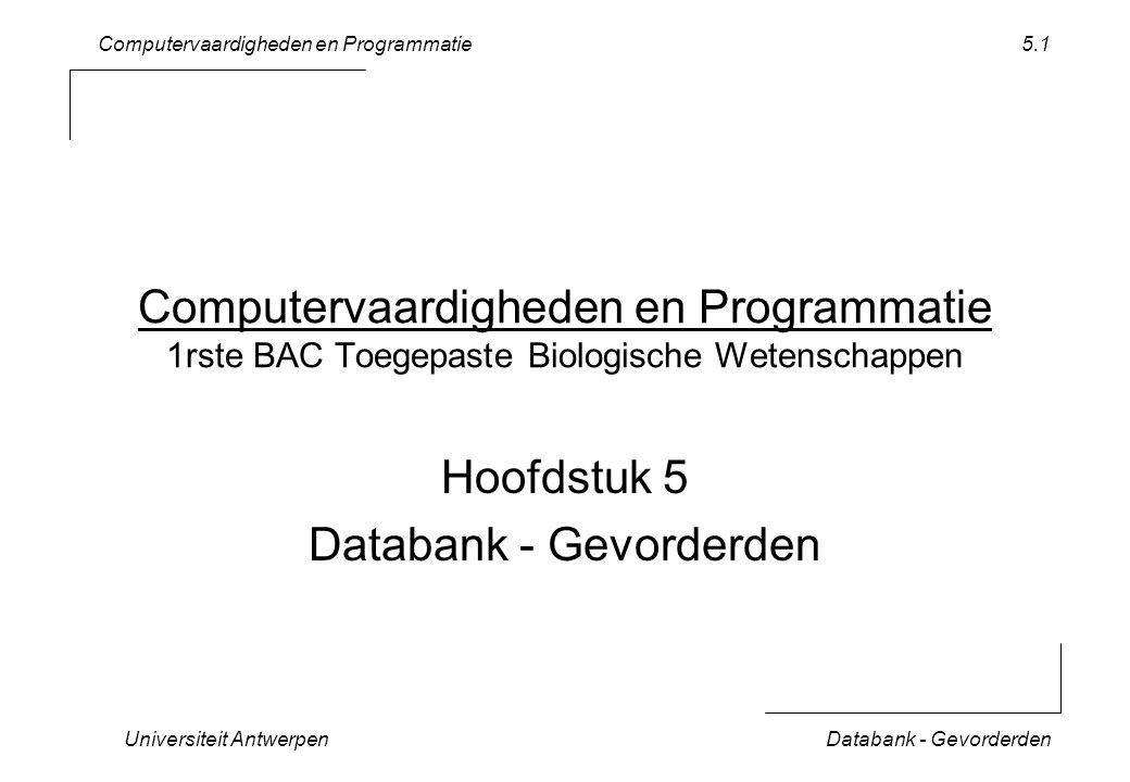 Computervaardigheden en Programmatie Universiteit AntwerpenDatabank - Gevorderden 5.1 Computervaardigheden en Programmatie 1rste BAC Toegepaste Biologische Wetenschappen Hoofdstuk 5 Databank - Gevorderden