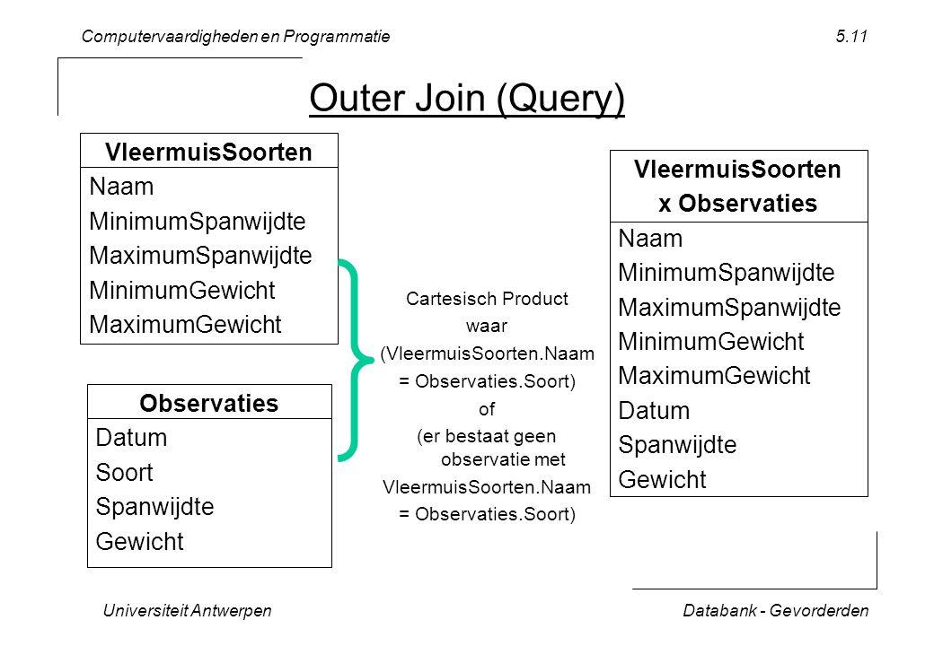 Computervaardigheden en Programmatie Universiteit AntwerpenDatabank - Gevorderden 5.11 Outer Join (Query) VleermuisSoorten Naam MinimumSpanwijdte Maxi