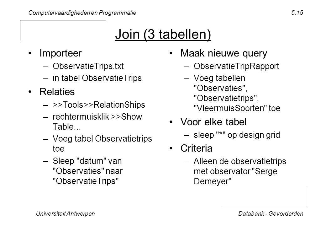 Computervaardigheden en Programmatie Universiteit AntwerpenDatabank - Gevorderden 5.15 Join (3 tabellen) Importeer –ObservatieTrips.txt –in tabel ObservatieTrips Relaties –>>Tools>>RelationShips –rechtermuisklik >>Show Table...