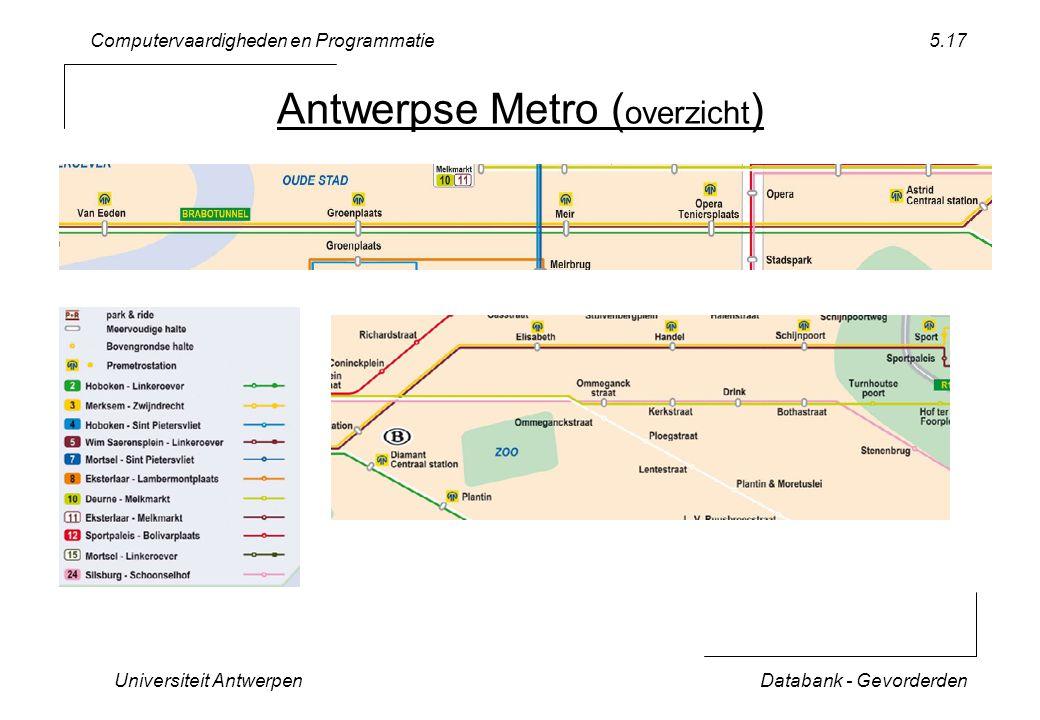 Computervaardigheden en Programmatie Universiteit AntwerpenDatabank - Gevorderden 5.17 Antwerpse Metro ( overzicht )