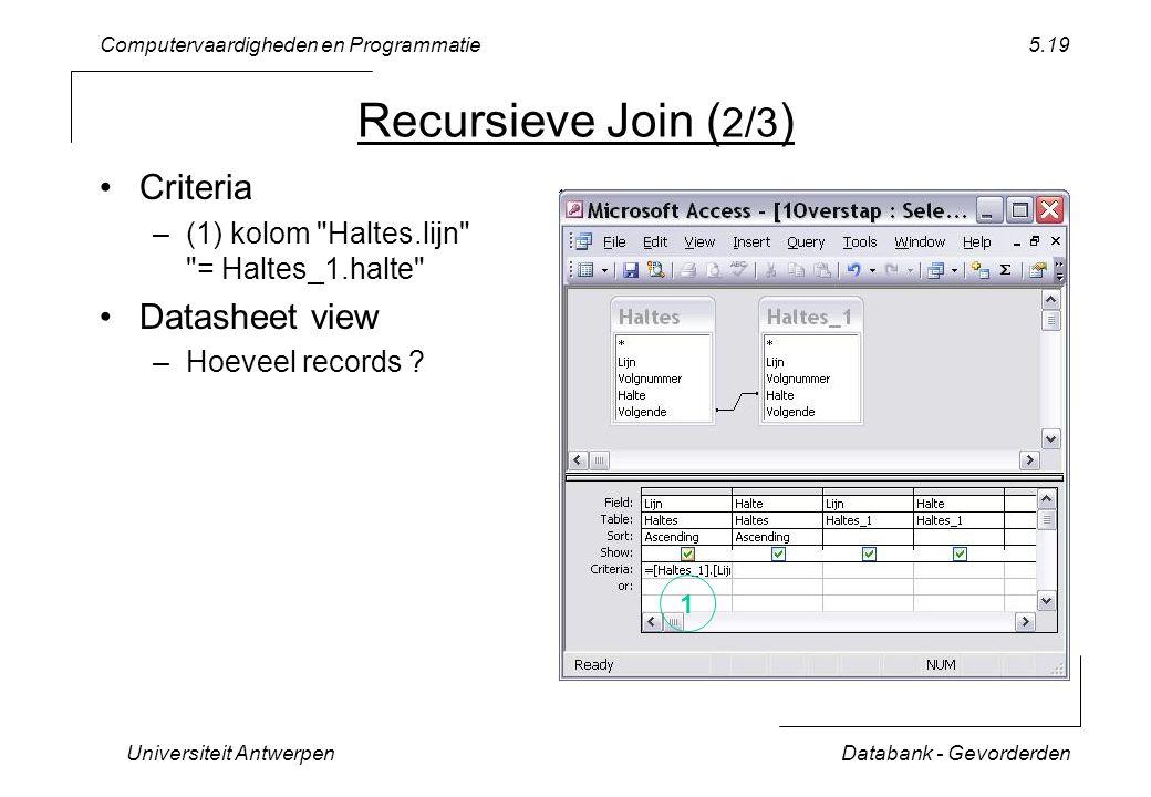Computervaardigheden en Programmatie Universiteit AntwerpenDatabank - Gevorderden 5.19 Recursieve Join ( 2/3 ) Criteria –(1) kolom Haltes.lijn = Haltes_1.halte Datasheet view –Hoeveel records .