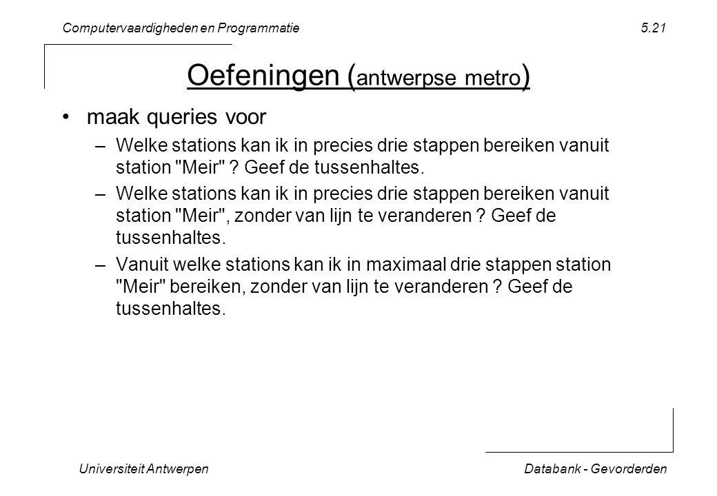 Computervaardigheden en Programmatie Universiteit AntwerpenDatabank - Gevorderden 5.21 Oefeningen ( antwerpse metro ) maak queries voor –Welke stations kan ik in precies drie stappen bereiken vanuit station Meir .