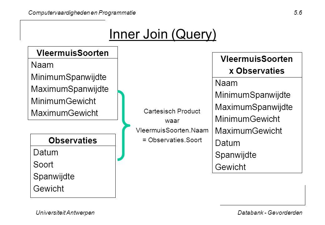 Computervaardigheden en Programmatie Universiteit AntwerpenDatabank - Gevorderden 5.6 Inner Join (Query) VleermuisSoorten Naam MinimumSpanwijdte Maxim