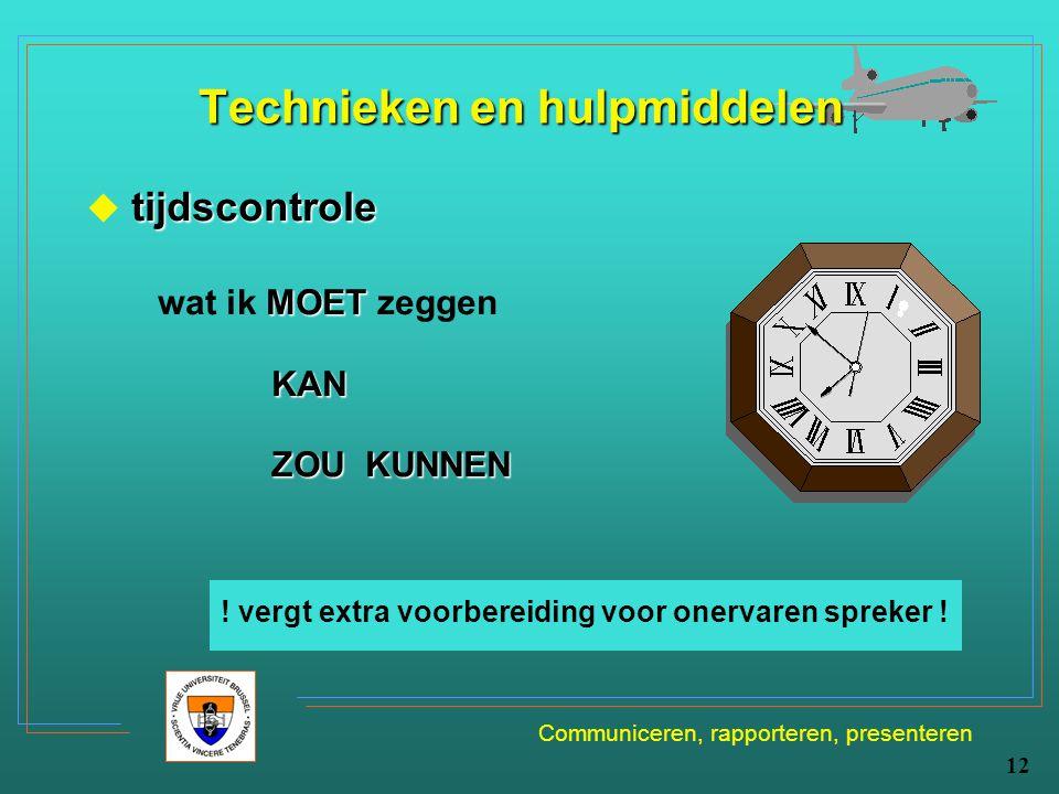 Communiceren, rapporteren, presenteren 12 Technieken en hulpmiddelen tijdscontrole  tijdscontrole MOET wat ik MOET zeggen KAN ZOU KUNNEN ! vergt extr