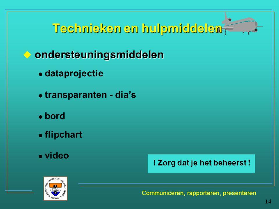 Communiceren, rapporteren, presenteren 14 Technieken en hulpmiddelen ondersteuningsmiddelen  ondersteuningsmiddelen dataprojectie transparanten - dia