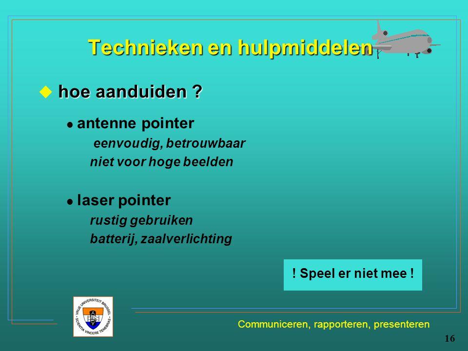 Communiceren, rapporteren, presenteren 16 Technieken en hulpmiddelen hoe aanduiden ?  hoe aanduiden ? antenne pointer eenvoudig, betrouwbaar niet voo