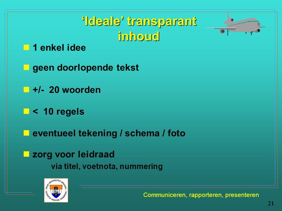Communiceren, rapporteren, presenteren 21 'Ideale' transparant inhoud 1 enkel idee geen doorlopende tekst +/- 20 woorden < 10 regels eventueel tekenin