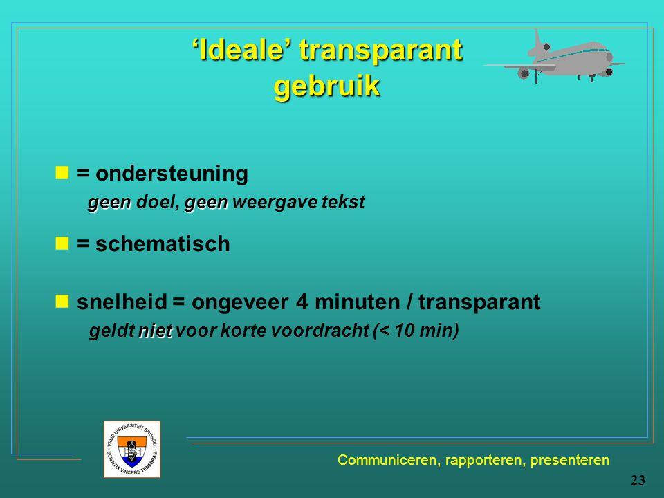 Communiceren, rapporteren, presenteren 23 'Ideale' transparant gebruik = ondersteuning geengeen geen doel, geen weergave tekst = schematisch snelheid