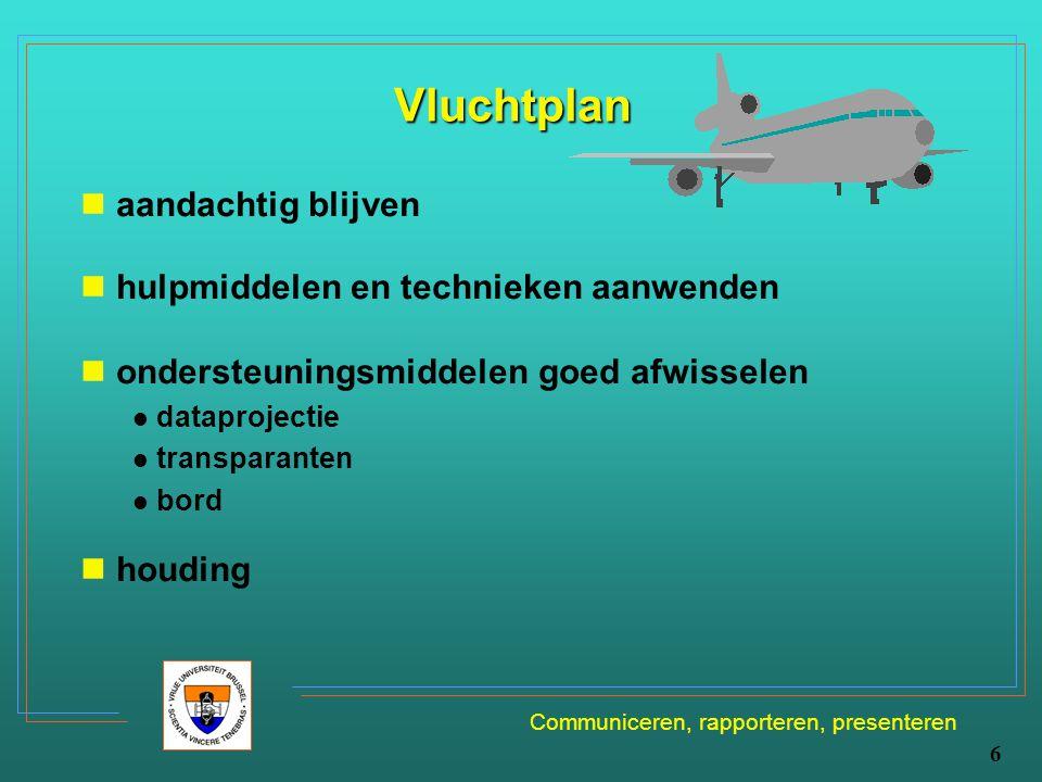 Communiceren, rapporteren, presenteren 6 Vluchtplan aandachtig blijven hulpmiddelen en technieken aanwenden ondersteuningsmiddelen goed afwisselen dat