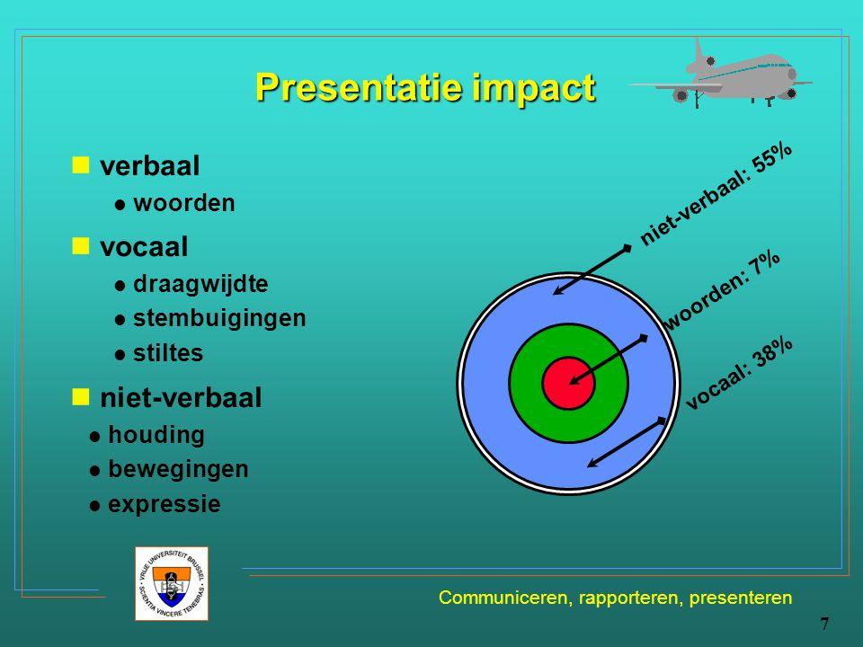 Communiceren, rapporteren, presenteren 7 Presentatie impact verbaal woorden vocaal draagwijdte stembuigingen stiltes niet-verbaal houding bewegingen e