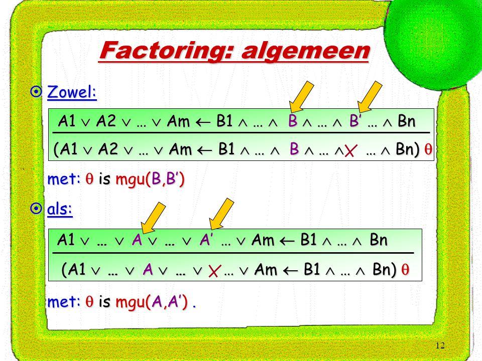 12 Factoring: algemeen  Zowel:  met:  is mgu(B,B') A1  A2  …  Am  B1  …  B  …  B' …  Bn (A1  A2  …  Am  B1  …  B  …  …  Bn)   als:  met:  is mgu(A,A').