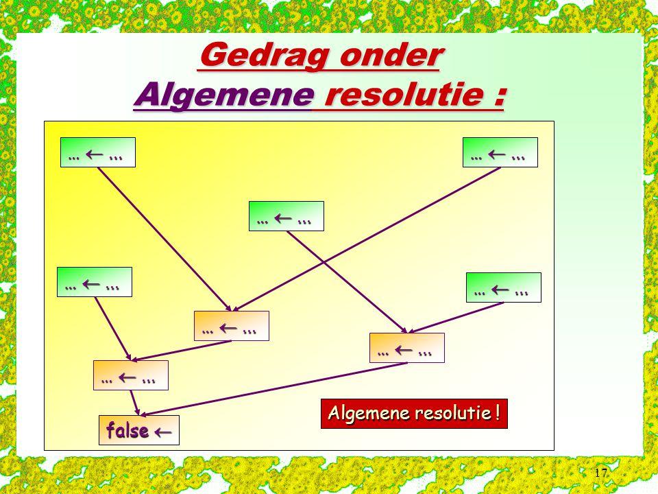 17 Gedrag onder Algemene resolutie : Algemene resolutie ! … ... false 