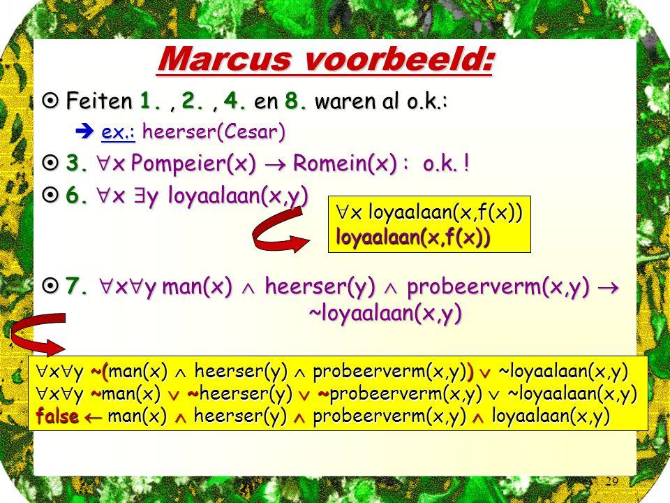 29 Marcus voorbeeld:  x  y ~(man(x)  heerser(y)  probeerverm(x,y))  ~loyaalaan(x,y)  x  y ~man(x)  ~heerser(y)  ~probeerverm(x,y)  ~loyaalaan(x,y) false  man(x)  heerser(y)  probeerverm(x,y)  loyaalaan(x,y)  x loyaalaan(x,f(x)) loyaalaan(x,f(x))  Feiten 1., 2., 4.