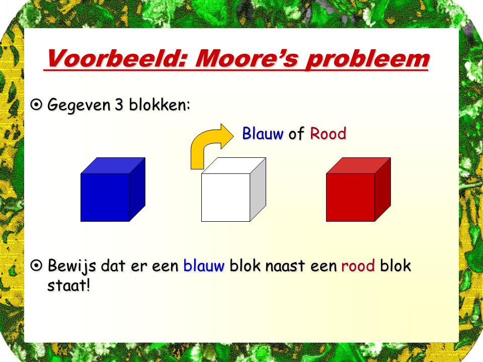 3 Voorbeeld: Moore's probleem BlauwofRood Blauw of Rood  Gegeven 3 blokken:  Bewijs dat er een blauw blok naast een rood blok staat!