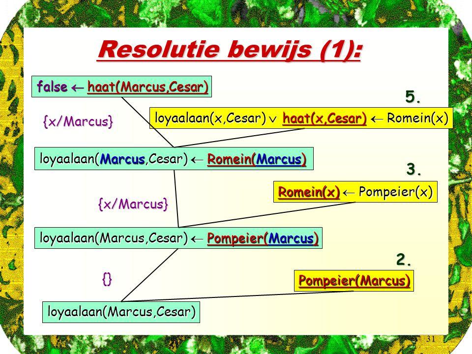 31 Resolutie bewijs (1): false  haat(Marcus,Cesar) loyaalaan(x,Cesar)  haat(x,Cesar)  Romein(x) loyaalaan(Marcus,Cesar)  Romein(Marcus) {x/Marcus}5.