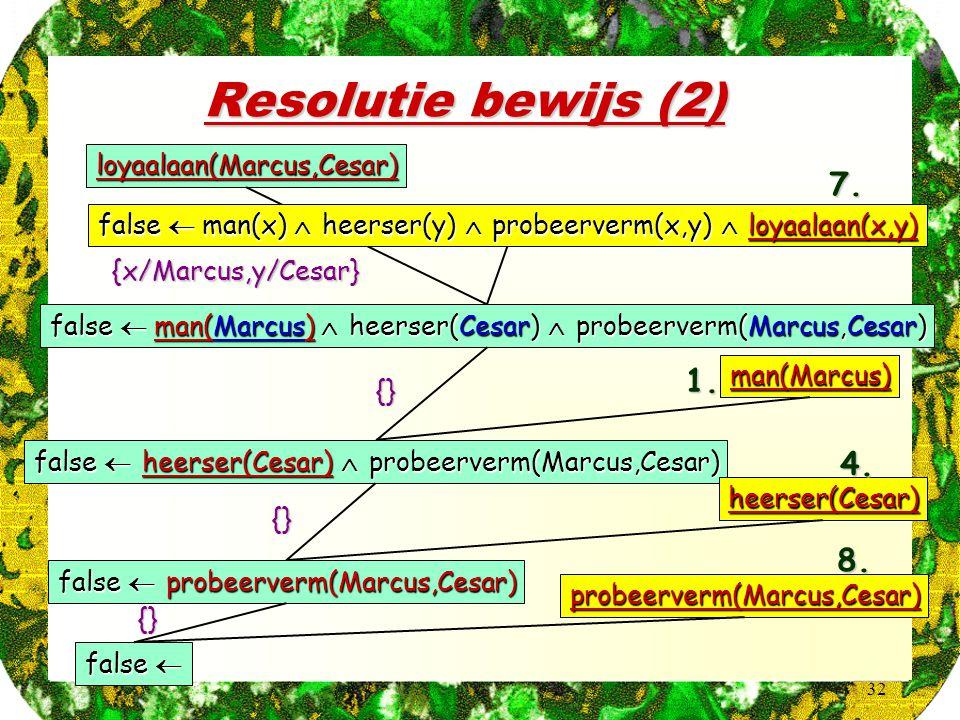 32 Resolutie bewijs (2) loyaalaan(Marcus,Cesar) false  man(x)  heerser(y)  probeerverm(x,y)  loyaalaan(x,y) false  man(Marcus)  heerser(Cesar)  probeerverm(Marcus,Cesar) 7.{x/Marcus,y/Cesar} man(Marcus) false  heerser(Cesar)  probeerverm(Marcus,Cesar) 1.