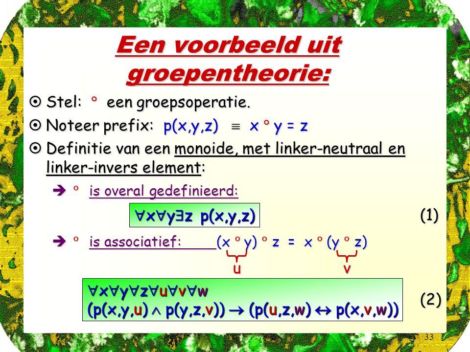 33 Een voorbeeld uit groepentheorie:  Stel:  een groepsoperatie.