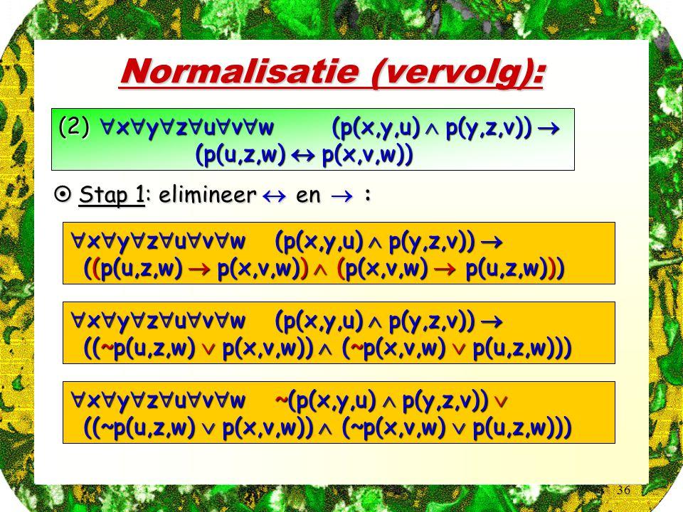 36 Normalisatie (vervolg): (2)  x  y  z  u  v  w (p(x,y,u)  p(y,z,v))  (p(u,z,w)  p(x,v,w))  Stap 1: elimineer  en  :  x  y  z  u  v  w (p(x,y,u)  p(y,z,v))  ((p(u,z,w)  p(x,v,w))  (p(x,v,w)  p(u,z,w))) ((p(u,z,w)  p(x,v,w))  (p(x,v,w)  p(u,z,w)))  x  y  z  u  v  w (p(x,y,u)  p(y,z,v))  ((~p(u,z,w)  p(x,v,w))  (~p(x,v,w)  p(u,z,w))) ((~p(u,z,w)  p(x,v,w))  (~p(x,v,w)  p(u,z,w)))  x  y  z  u  v  w ~(p(x,y,u)  p(y,z,v))  ((~p(u,z,w)  p(x,v,w))  (~p(x,v,w)  p(u,z,w))) ((~p(u,z,w)  p(x,v,w))  (~p(x,v,w)  p(u,z,w)))