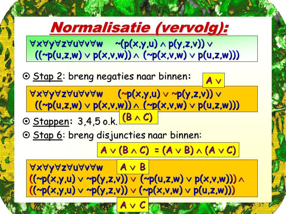 37 Normalisatie (vervolg):  x  y  z  u  v  w ~(p(x,y,u)  p(y,z,v))  ((~p(u,z,w)  p(x,v,w))  (~p(x,v,w)  p(u,z,w))) ((~p(u,z,w)  p(x,v,w))  (~p(x,v,w)  p(u,z,w)))  x  y  z  u  v  w (~p(x,y,u)  ~p(y,z,v))  ((~p(u,z,w)  p(x,v,w))  (~p(x,v,w)  p(u,z,w))) ((~p(u,z,w)  p(x,v,w))  (~p(x,v,w)  p(u,z,w)))  Stap 2: breng negaties naar binnen:  Stappen: 3,4,5 o.k.