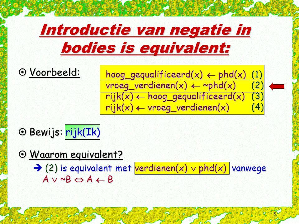 5 hoog_gequalificeerd(x)  phd(x) vroeg_verdienen(x)  ~phd(x) rijk(x)  hoog_gequalificeerd(x) rijk(x)  vroeg_verdienen(x) (1)(2)(3)(4) Introductie van negatie in bodies is equivalent:  Voorbeeld:  Bewijs: rijk(Ik)  Waarom equivalent.
