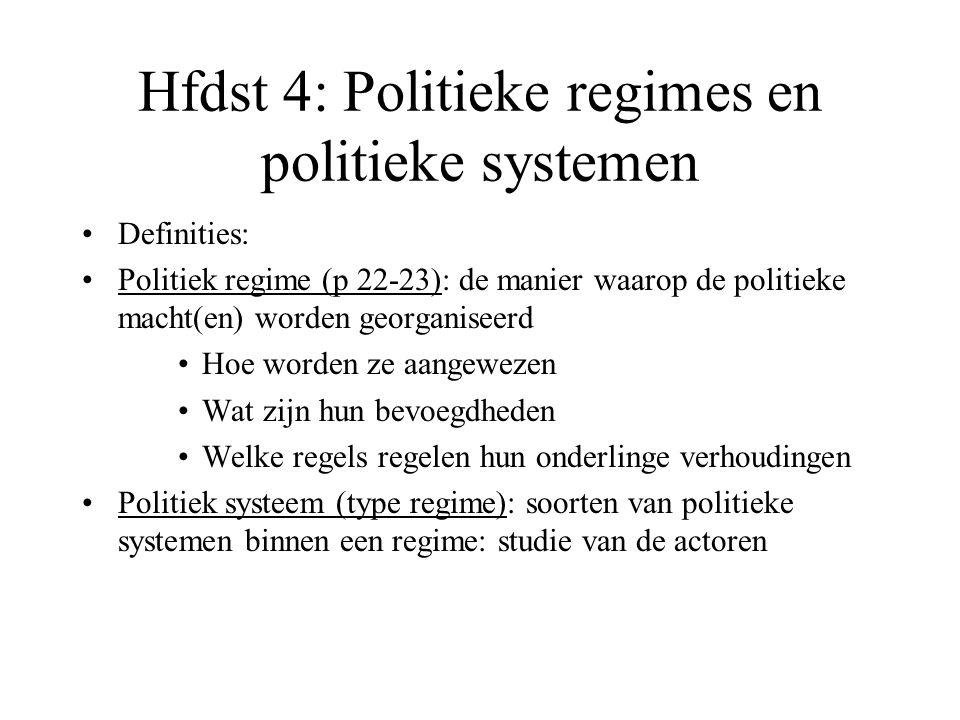 Hfdst 4: Politieke regimes en politieke systemen Definities: Politiek regime (p 22-23): de manier waarop de politieke macht(en) worden georganiseerd H