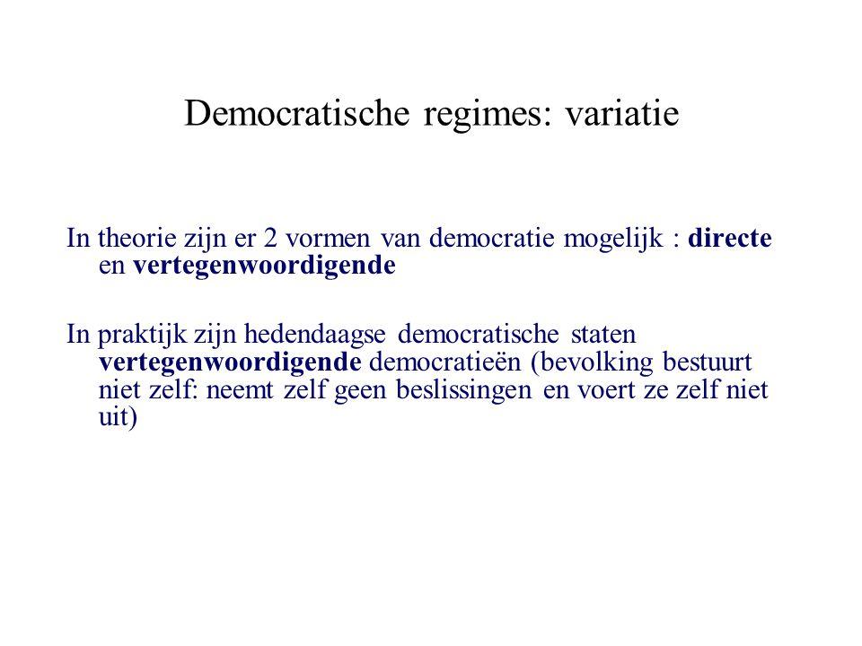 Democratische regimes: variatie In theorie zijn er 2 vormen van democratie mogelijk : directe en vertegenwoordigende In praktijk zijn hedendaagse demo