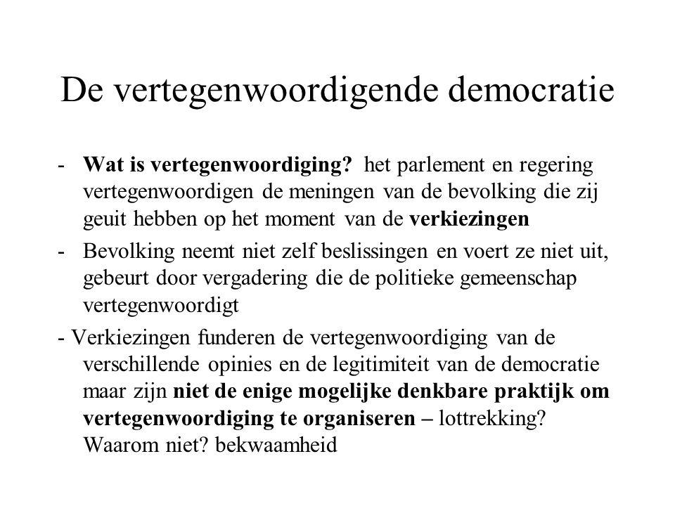 De vertegenwoordigende democratie -Wat is vertegenwoordiging? het parlement en regering vertegenwoordigen de meningen van de bevolking die zij geuit h