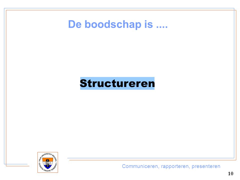 Communiceren, rapporteren, presenteren 10 De boodschap is.... Structureren