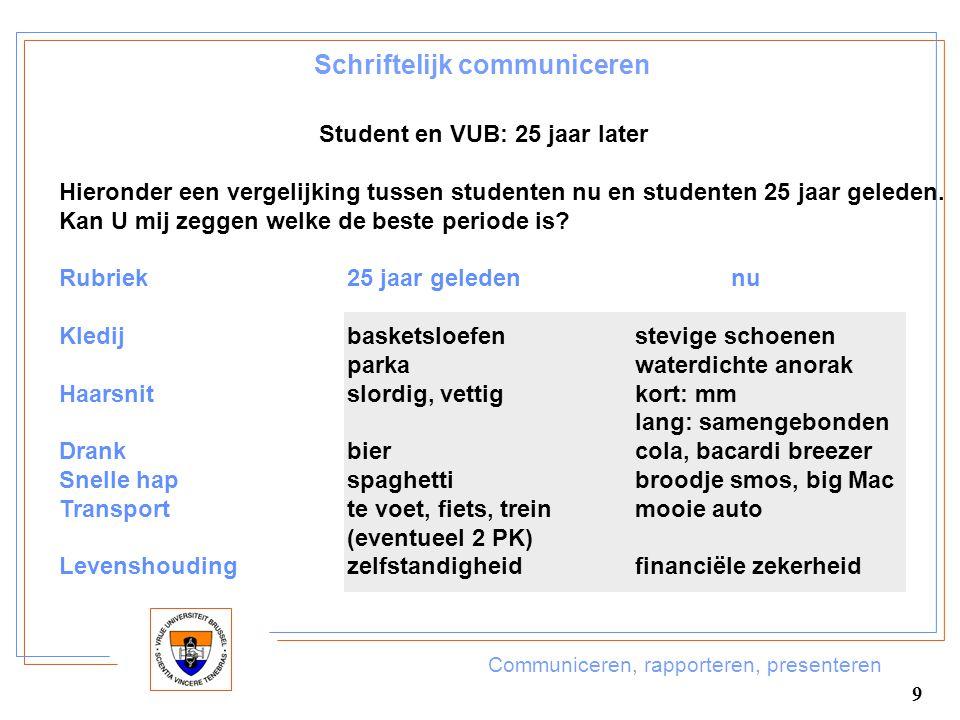 Communiceren, rapporteren, presenteren 9 Schriftelijk communiceren Student en VUB: 25 jaar later Hieronder een vergelijking tussen studenten nu en stu