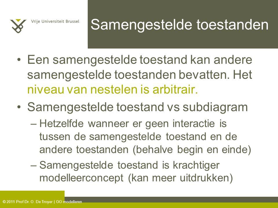 © 2011 Prof Dr. O. De Troyer | OO modelleren Samengestelde toestanden Een samengestelde toestand kan andere samengestelde toestanden bevatten. Het niv