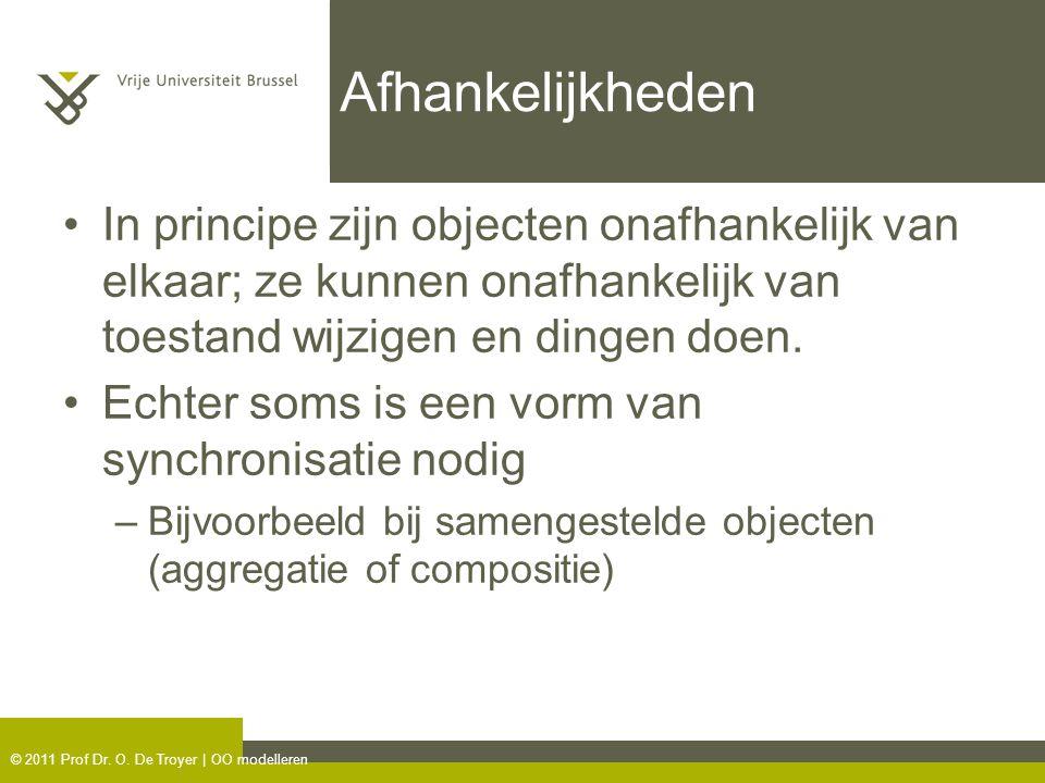 © 2011 Prof Dr. O. De Troyer | OO modelleren Afhankelijkheden In principe zijn objecten onafhankelijk van elkaar; ze kunnen onafhankelijk van toestand