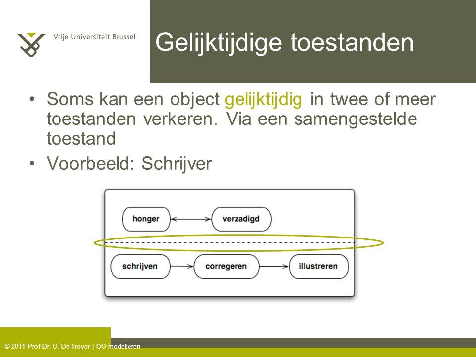 © 2011 Prof Dr. O. De Troyer | OO modelleren Gelijktijdige toestanden Soms kan een object gelijktijdig in twee of meer toestanden verkeren. Via een sa